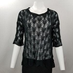 UMGEE USA Crochet Black Sheer Sweater 3/4 Sleeve S